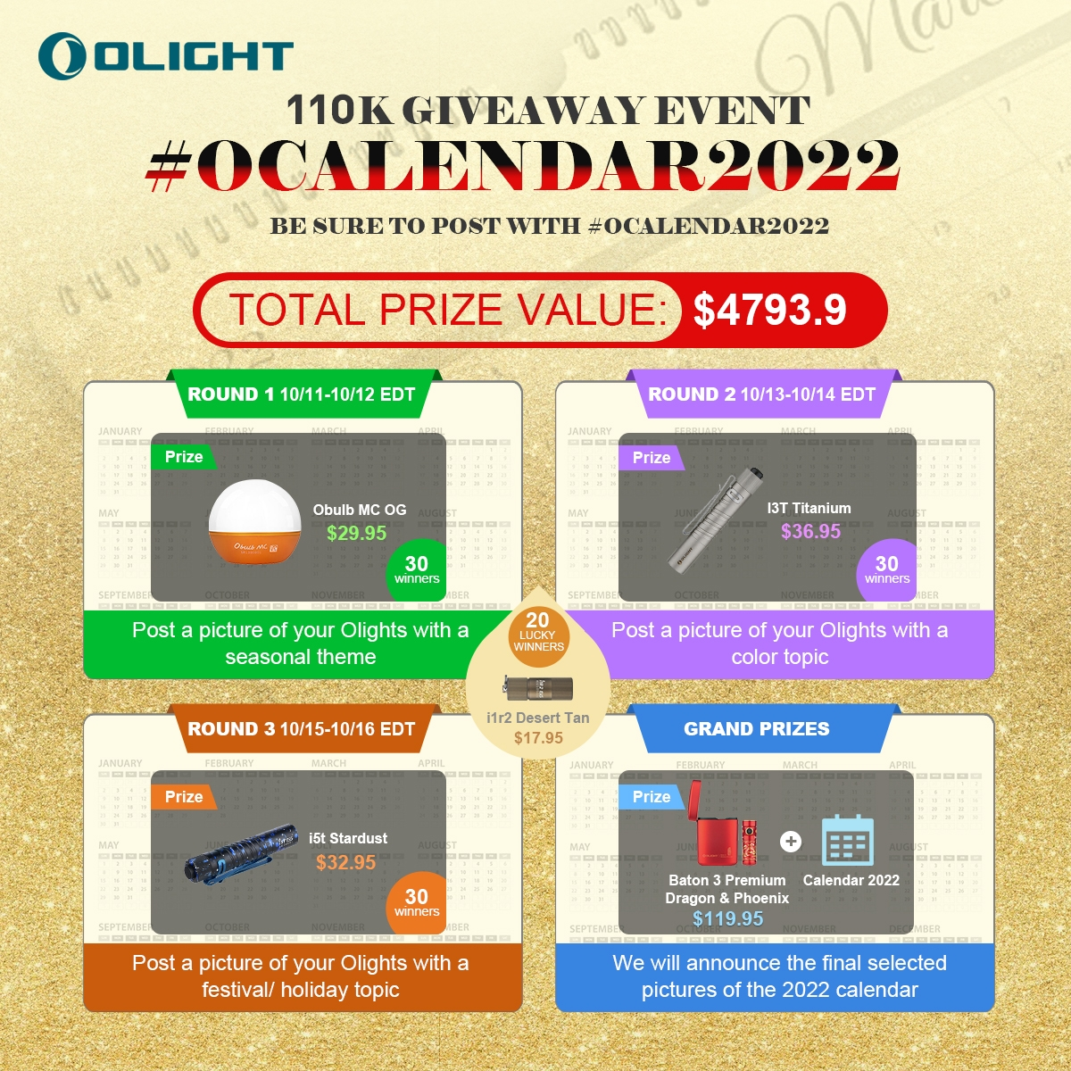 Share Your OCalendar Pictures in FB,110K giveaway #OCalendar2022