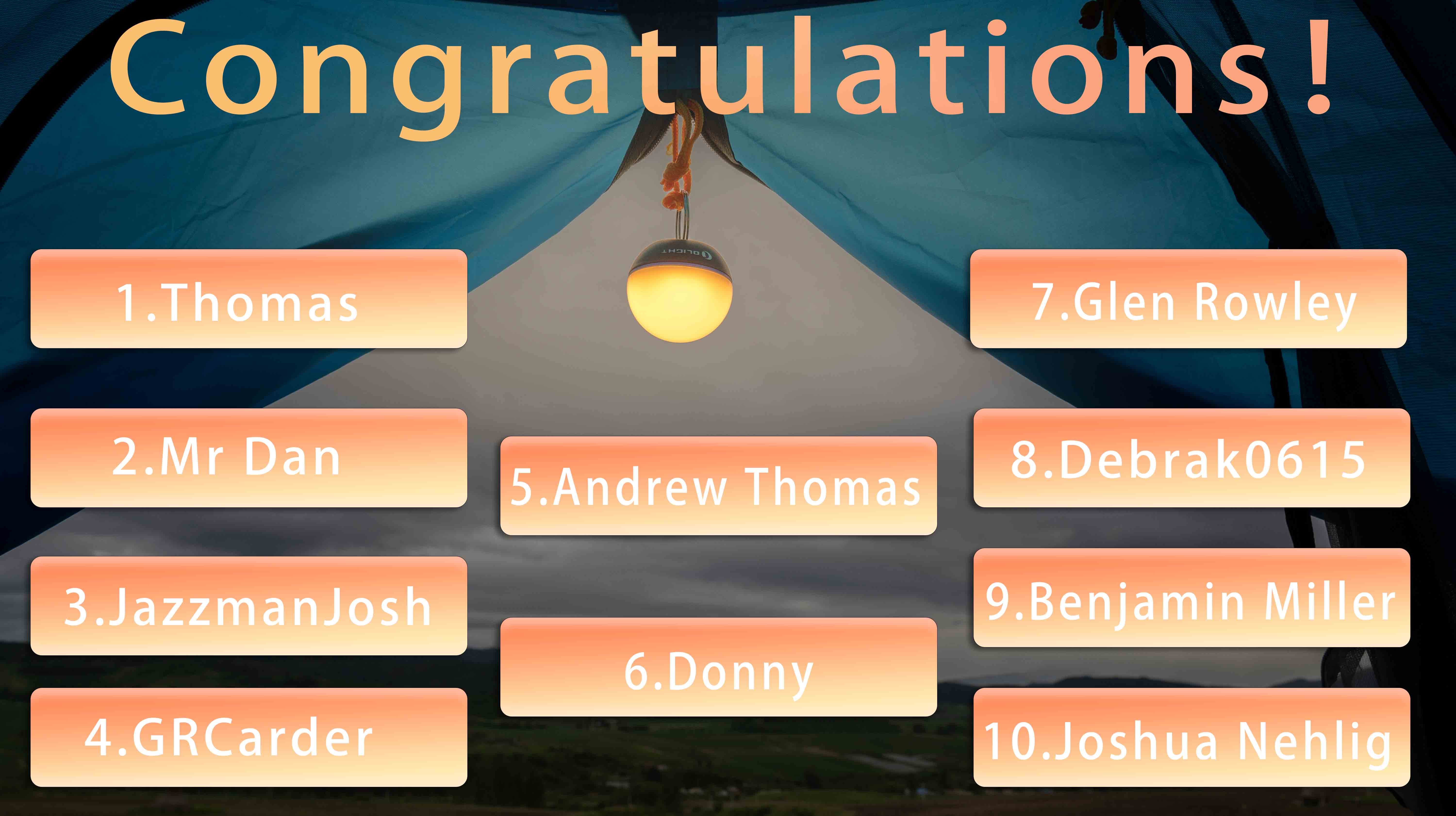 【Congratulations】To the 10 winners of the Last Obulb MC Giveaway!