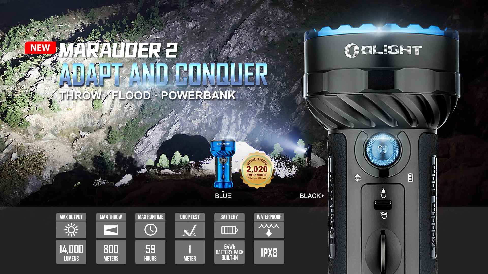 Marauder 2 high lumen powerful flashlight parameter