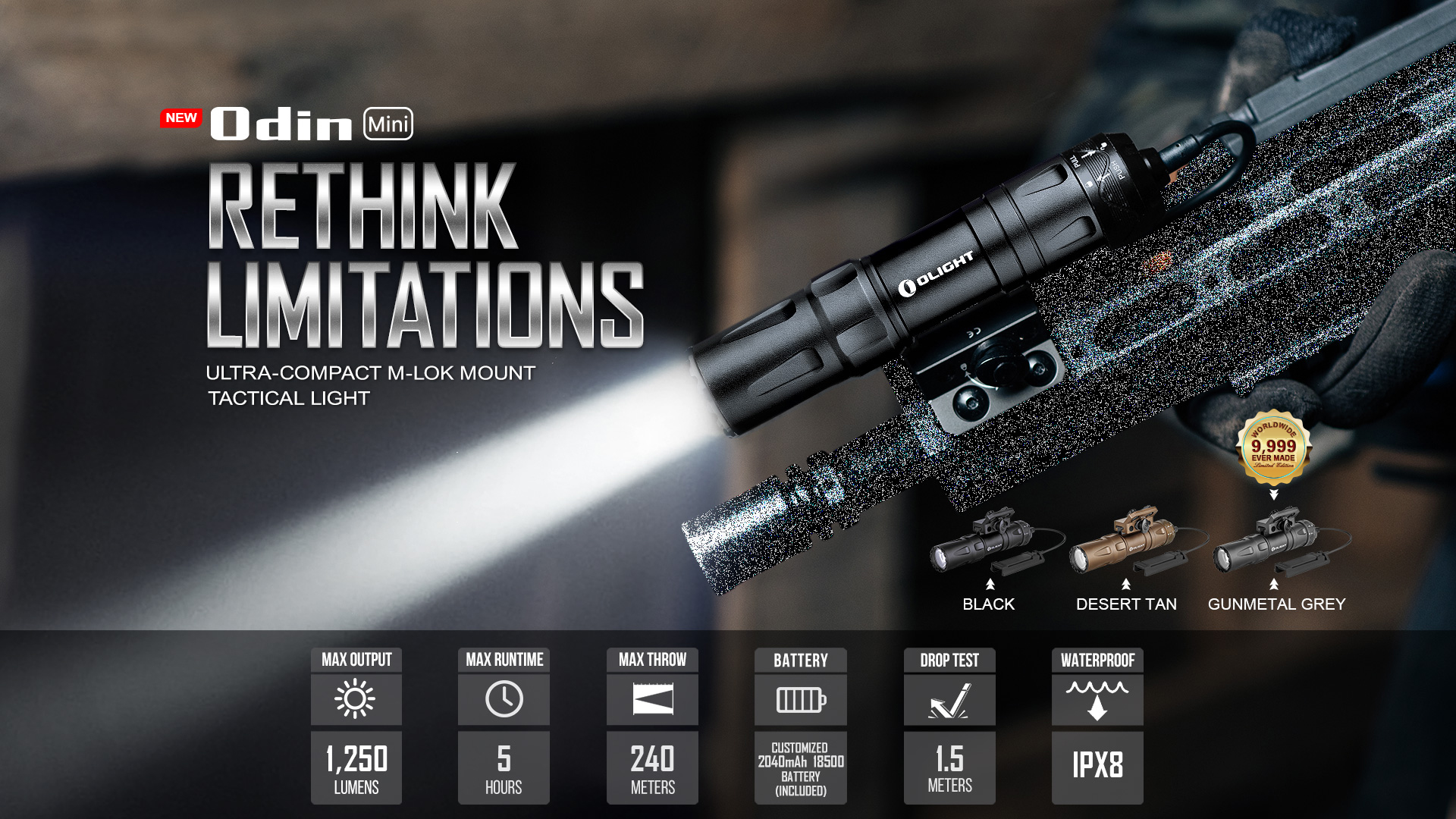 Odin Mini rechargeable tactical LED flashlight parameter