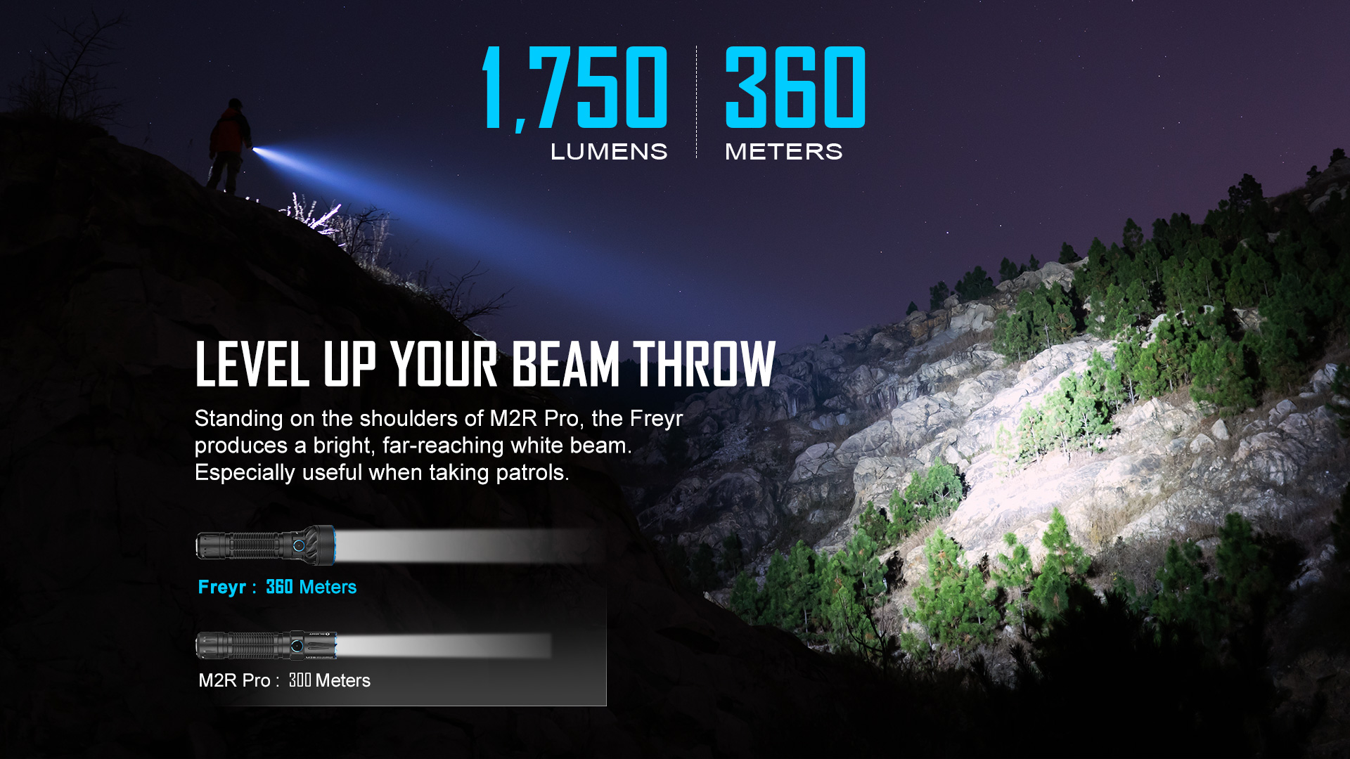 Olight Freyr multi color handheld flashlight 360 meters