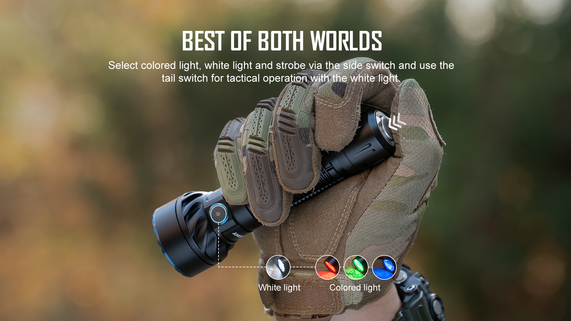 Double-opening multi color handheld flashlight