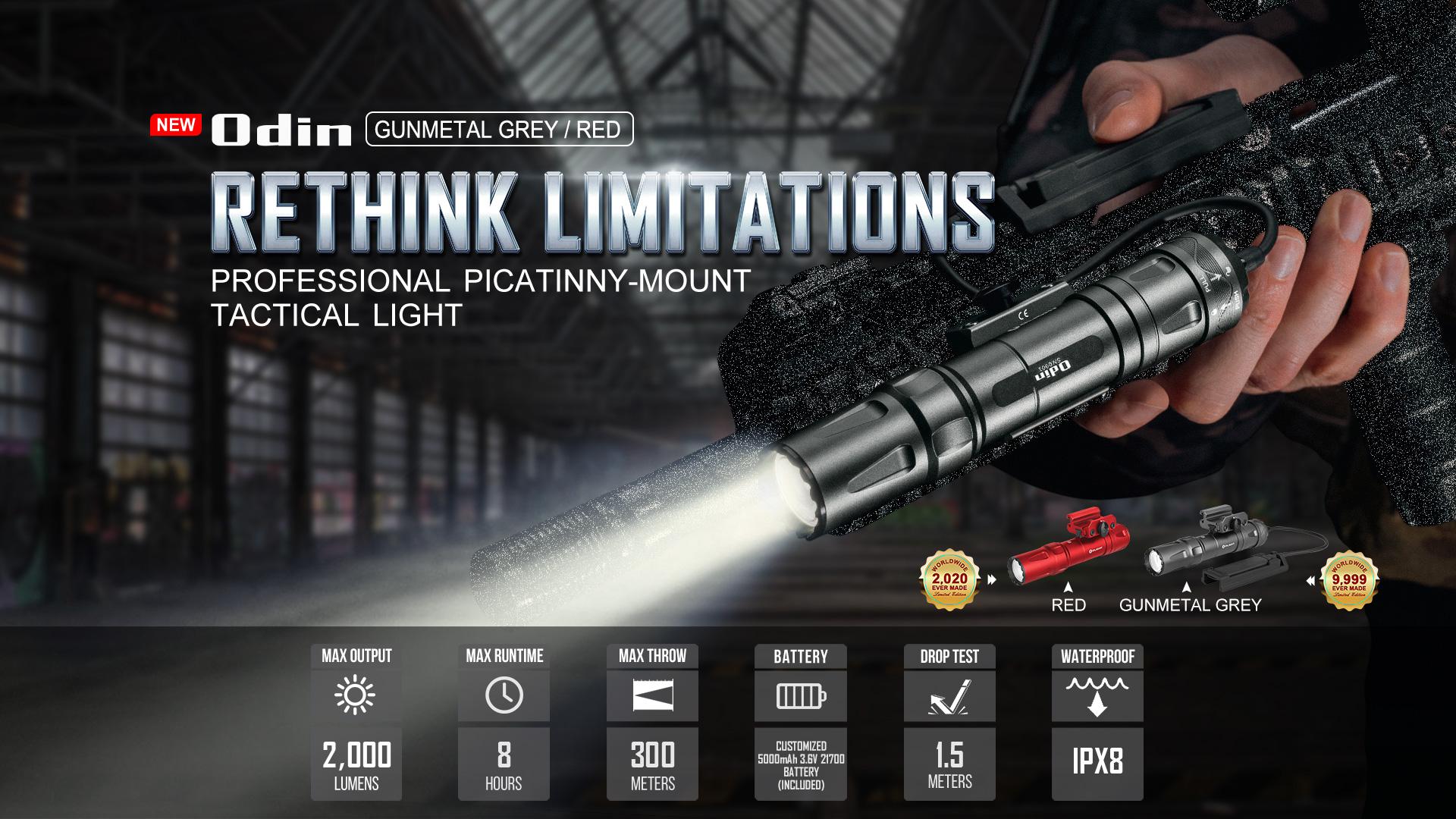 Olight Odin Tactical Rail Flashlight Gunmetal Grey & Red