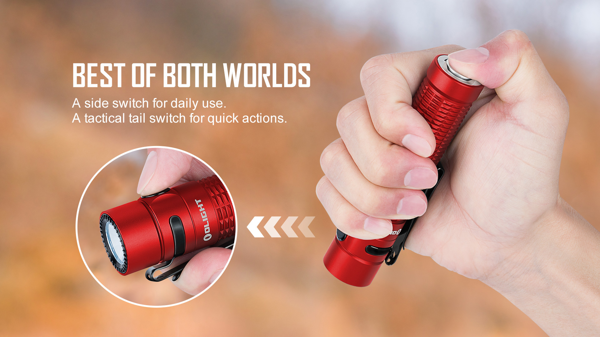 Double switch high end EDC flashlights