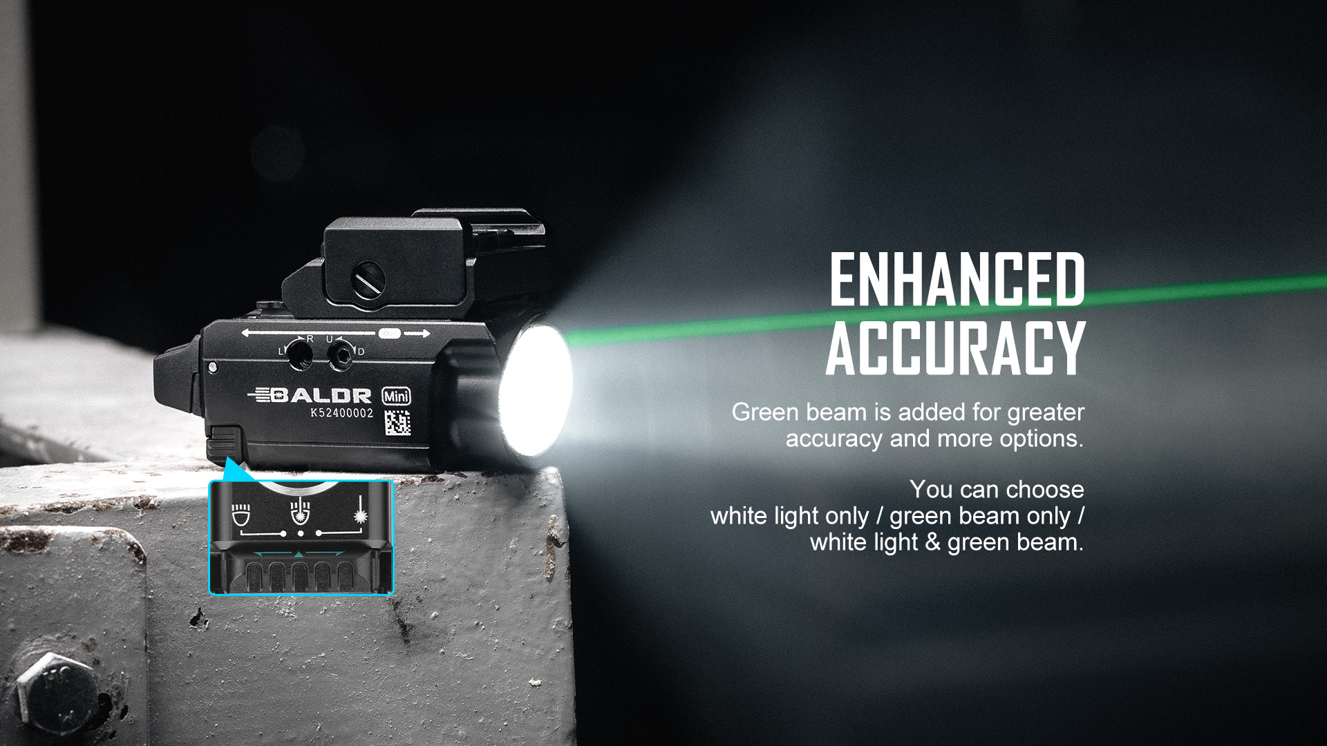 Baldr Mini with a combination of white and green lasers