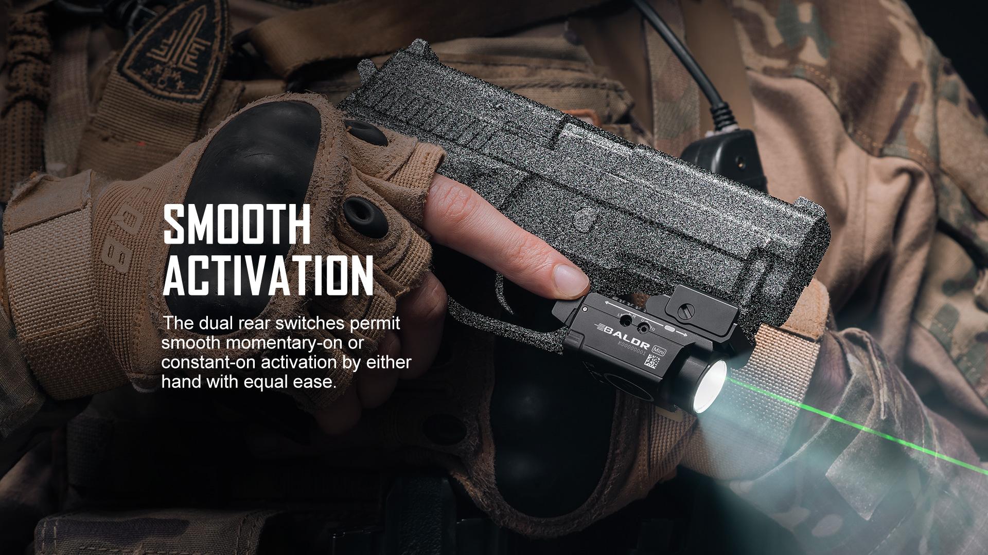 High stability tactical flashlight