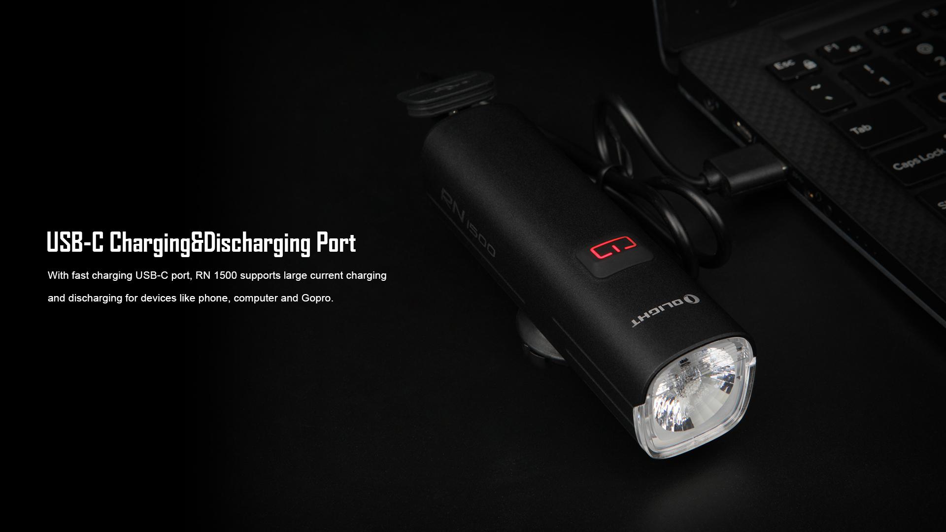 USB-C Charging & Discharging Port RN1500 Bicycle Front Light