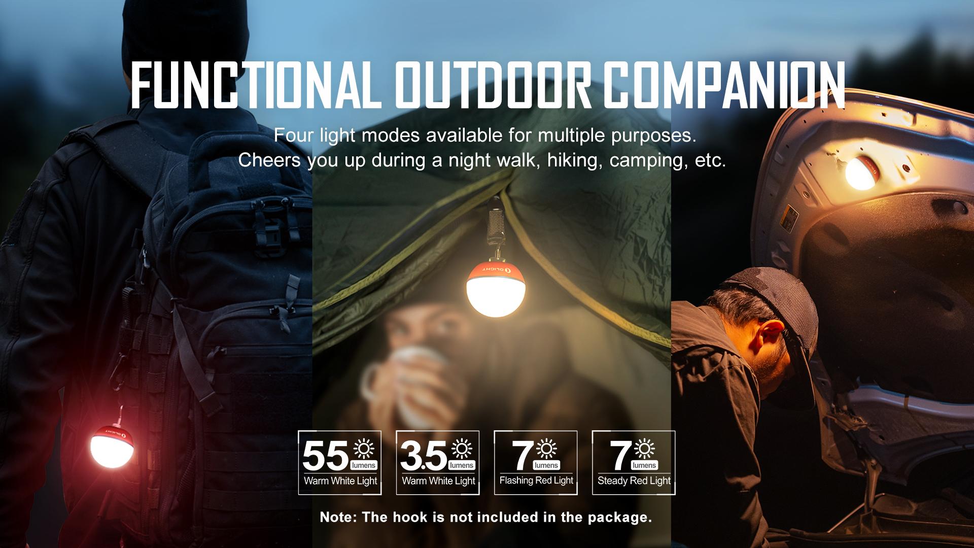 Lightweight and compact outdoor bulb light