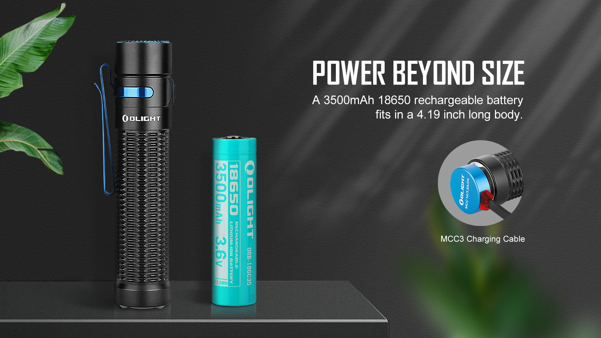 Compact size with large-capacity battery tactical flashlight