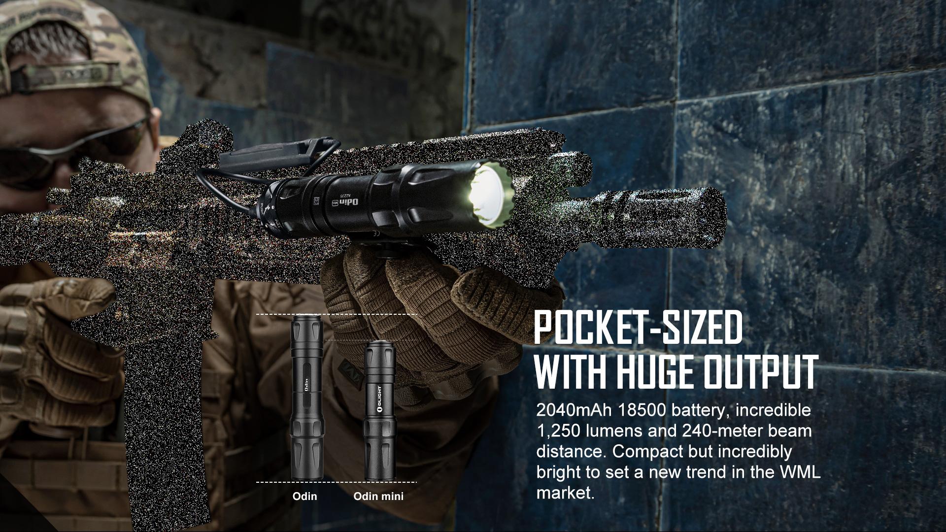 Odin Mini tactical flashlight 1250 lumens