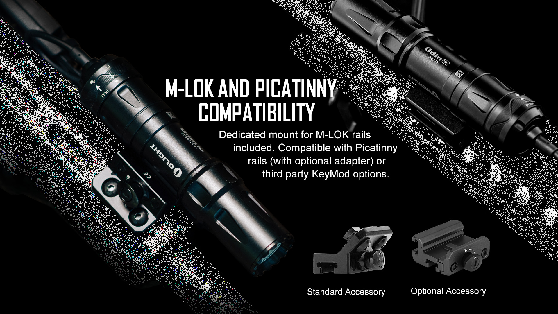 M-Lock and Picatinny Compatible tactical LED flashlight