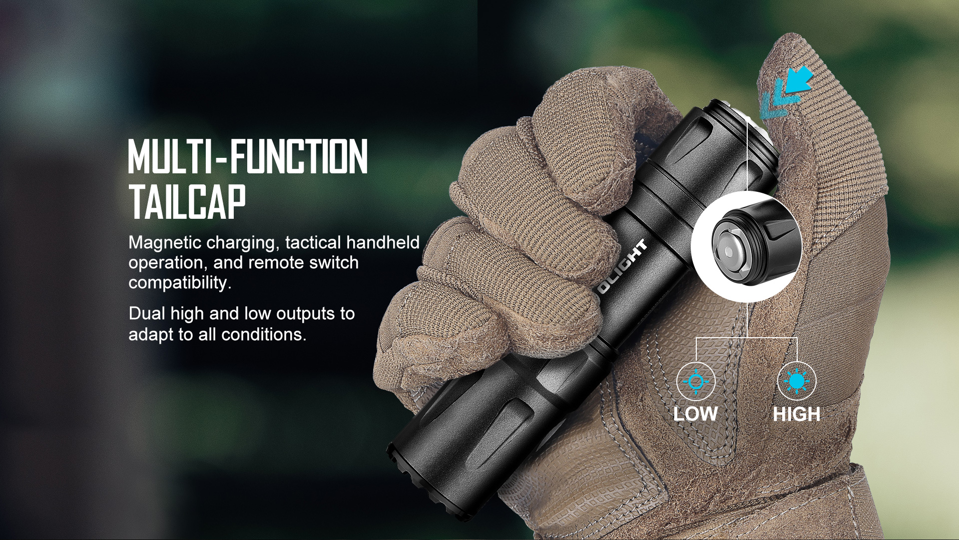 Rechargeable tactical LED flashlight with multifunctional tail cap