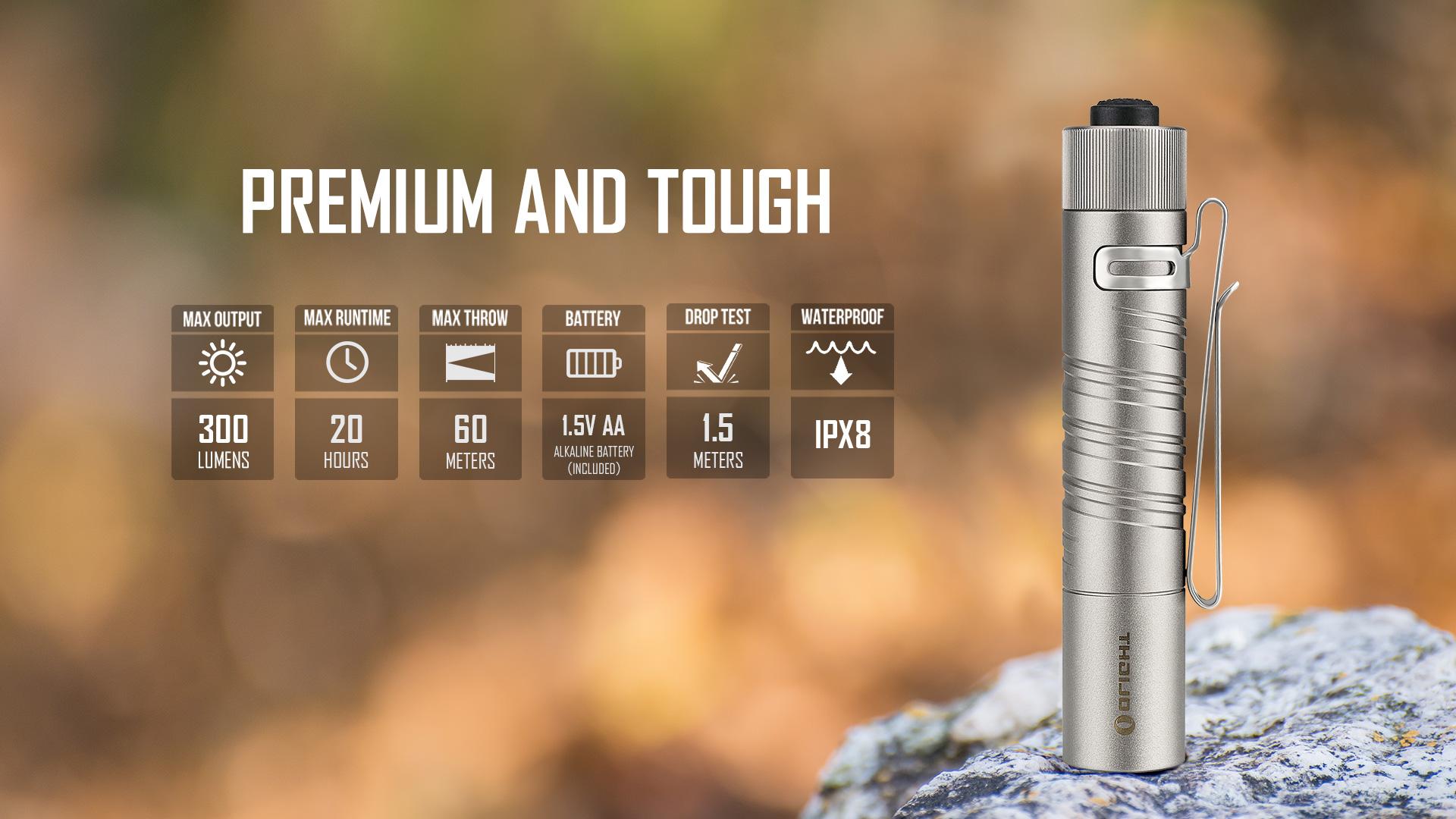 i5T EOS Ti pocket LED flashlight parameter