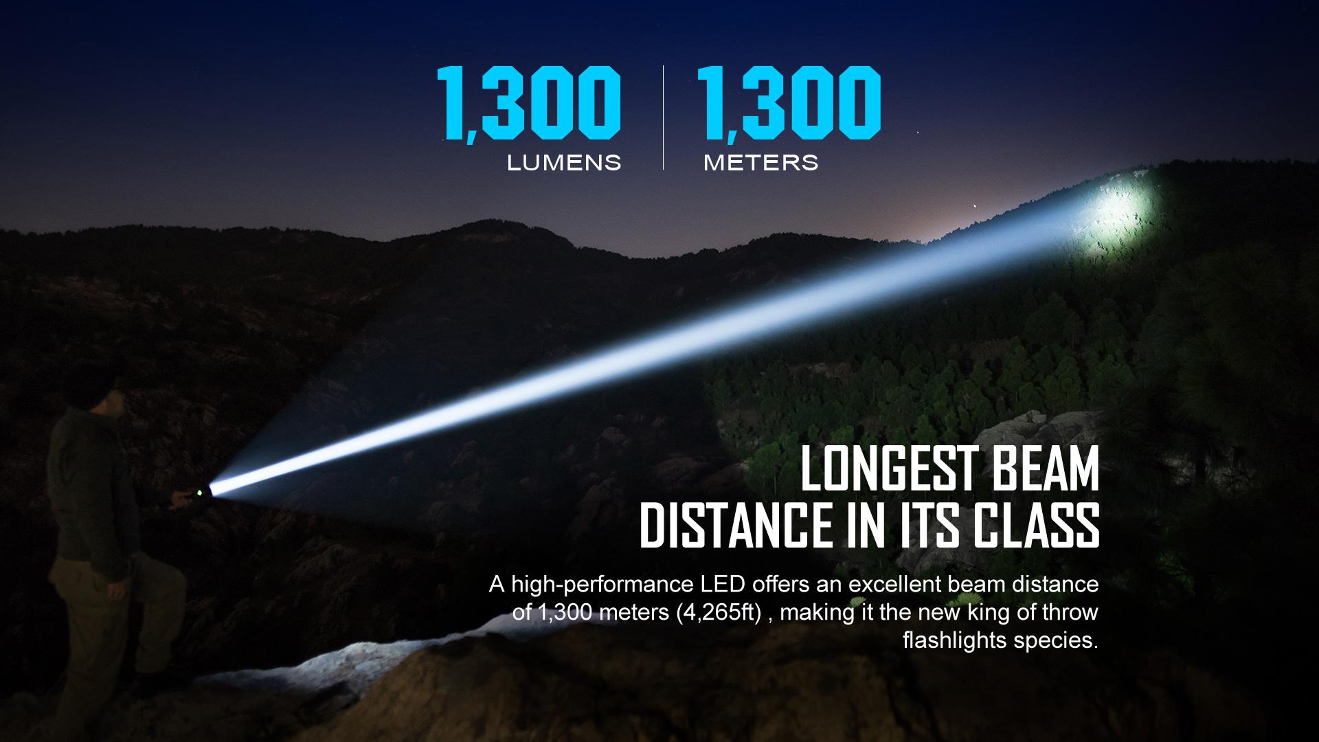 1300 beam distance high lumen tactical flashlight
