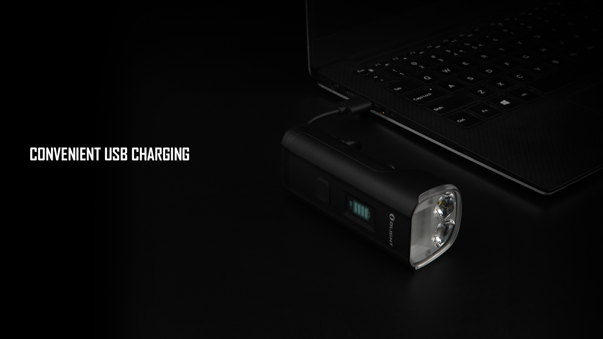 Front bike light with USB charging