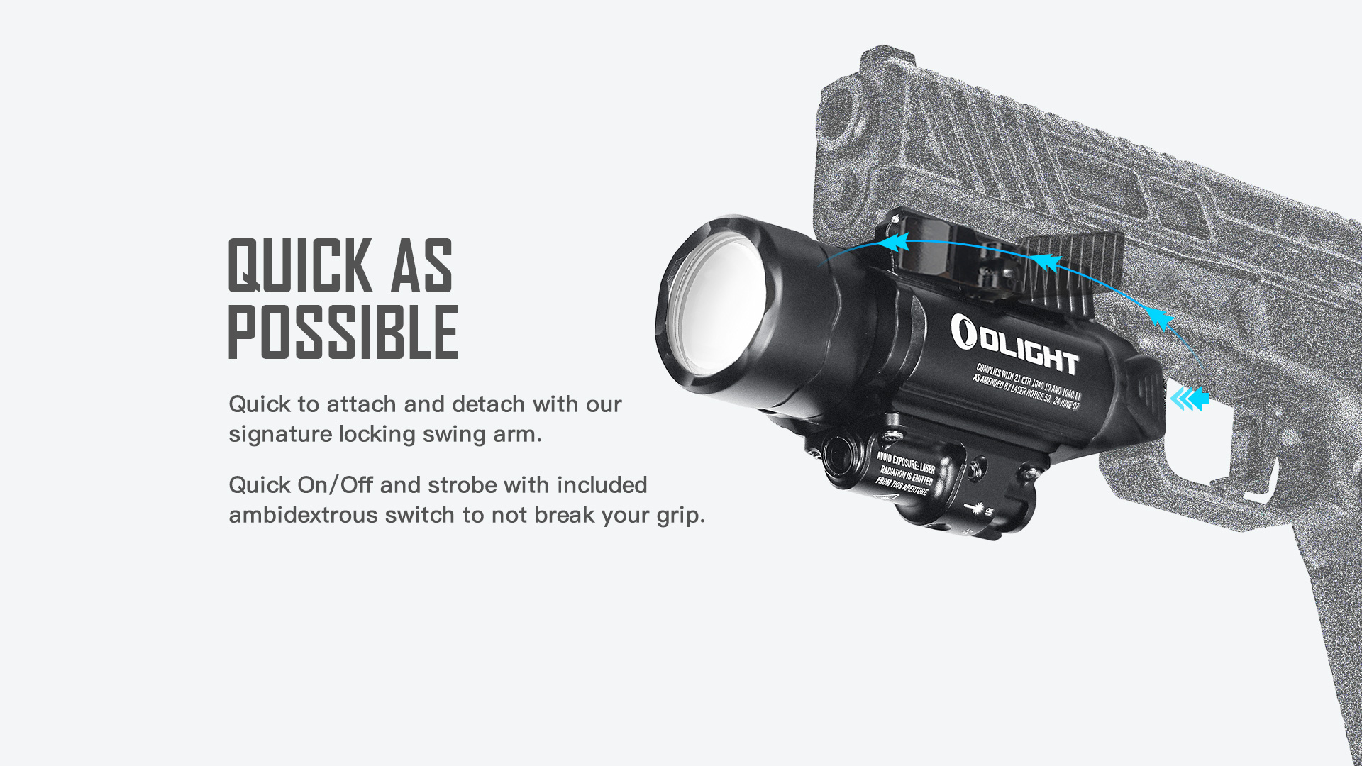 Rechargeable tactical light for easy and quick installation